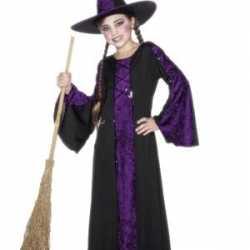 Horror Heksen kinder carnavalsoutfit zwart/paars