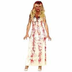 Horror horror carnavalsoutfit lange bloederige witte jurk