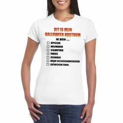 Horror horror carnavalsoutfit lijstje t shirt wit dames