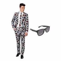 Horror kleding mannen carnavalsoutfit maat 52 (xl) gratis zonnebril