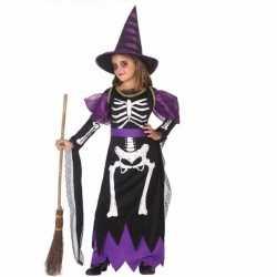 Horror meisjes heksen carnavalsoutfit skelet kleding