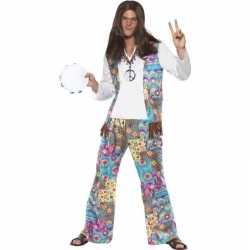 Jaren 60 hippie carnavalsoutfit groovy kleding mannen