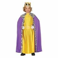 Koning mantel paars geel verkleedcarnavalsoutfit kleding kinderen