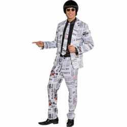 Krantenprint carnavalsoutfit kleding mannen