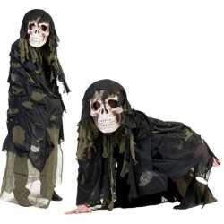 Legergroen doodshoofd spook carnavalsoutfit