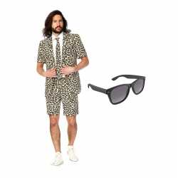 Luipaard kleding zomer carnavalsoutfit maat 48 (m) gratis zonnebril