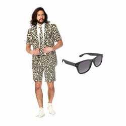 Luipaard kleding zomer carnavalsoutfit maat 50 (l) gratis zonnebril