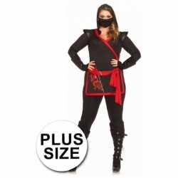Ninja carnavalsoutfit kleding dames grote maten