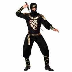 Ninja vechter verkleed carnavalsoutfit zwart/goud kleding mannen