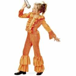 Oranje disco carnavalsoutfit meisjes