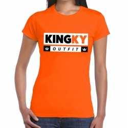 Oranje kingky outfit t shirt kleding dames