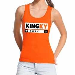 Oranje kingky outfit tanktop / mouwloos shirt kleding dames