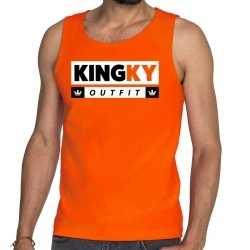 Oranje kingky outfit tanktop / mouwloos shirt kleding he