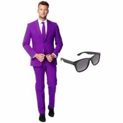 Paars mannen carnavalsoutfit maat 54 (xxl) gratis zonnebril
