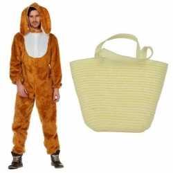 Paashaas carnavalsoutfit maat 52 (l) paasmandje kleding volwassenen