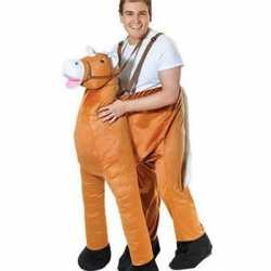 Pluche instap paard carnavalsoutfit
