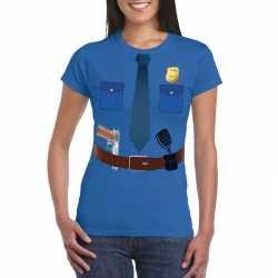 Politie uniform carnavalsoutfit t shirt blauw kleding dames