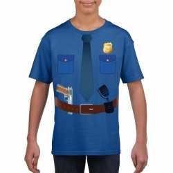 Politie uniform carnavalsoutfit t shirt blauw kleding kinderen
