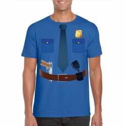 Politie uniform carnavalsoutfit t shirt blauw kleding mannen