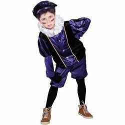 Roetveeg pieten carnavalsoutfit paars/zwart kleding kinderen
