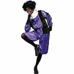 Roetveeg pieten carnavalsoutfit paars/zwart kleding volwassenen