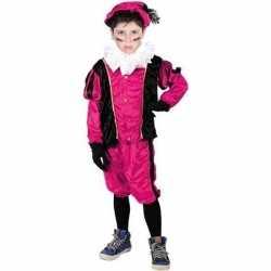 Roetveeg pieten carnavalsoutfit roze/zwart kleding kinderen