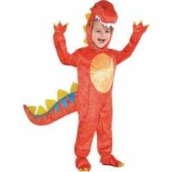 Rood dinosaurus carnavalsoutfit kleding kinderen