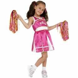 Roze cheerleader meisjes carnavalsoutfit