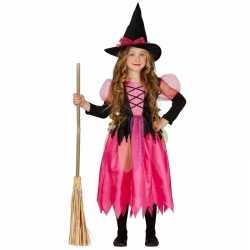 Roze heksen carnavalsoutfit shiny witch kleding meisjes