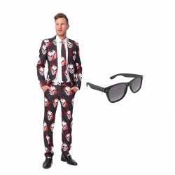 Schedel kleding mannen carnavalsoutfit maat 46 (s) gratis zonnebril