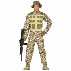 Soldaat verkleed pak/carnavalsoutfit camouflage/woestijn kleding mann