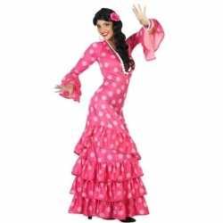 Spaanse flamencodanseres jurk roze verkleed carnavalsoutfit kleding d