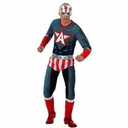 Superheld amerikaanse kapitein verkleed pak/carnavalsoutfit kleding m