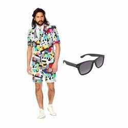 Testbeeld mannen zomer carnavalsoutfit maat 52 (xl) gratis zonnebril
