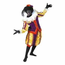 Verkleedkleding roetveeg pieten carnavalsoutfit geel/paars kleding da