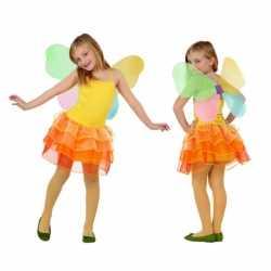Vlinder kinder carnavalsoutfit geel oranje