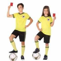 Voetbal scheidsrechter verkleed carnavalsoutfit kleding kinderen