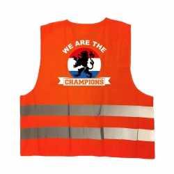 We are de champions oranje veiligheidshesje ek / wk supporter outfit kleding volwassenen