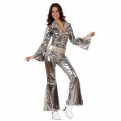 Zilveren disco jumpsuit verkleedkleding/carnavalsoutfit kleding dames