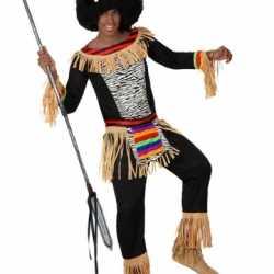 Zulu carnavalsoutfit kleding mannen zebra kleding
