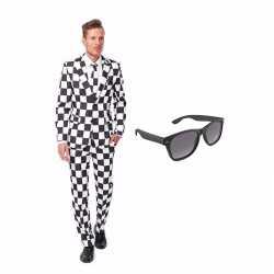 Zwart/wit geblokt mannen carnavalsoutfit maat 50 (l) gratis zonnebril