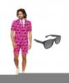 Palmbomen zomer mannen carnavalsoutfit maat 50 l gratis zonnebril